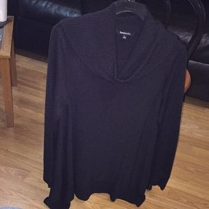 Black turtleneck tunic sweater